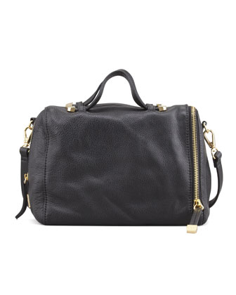 Baby Pebbled Satchel Bag, Black