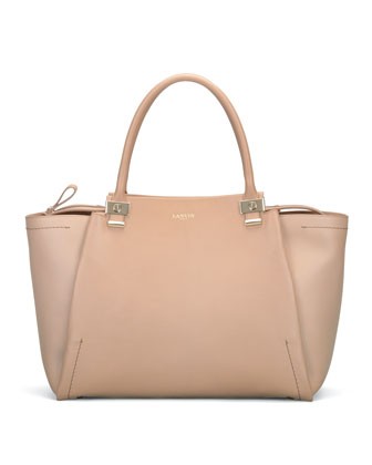 Trilogy Leather Tote Bag, Beige