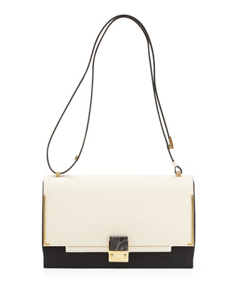 Partition Medium Two-Tone Shoulder Bag, White/Black