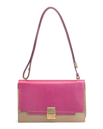 New Partition Medium Shoulder Bag, Pink/Brown