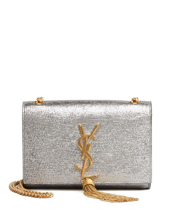 Cassandre Small Tassel Crossbody Bag, Silver