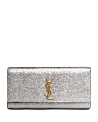 Cassandre Metallic Logo Clutch Bag, Silver