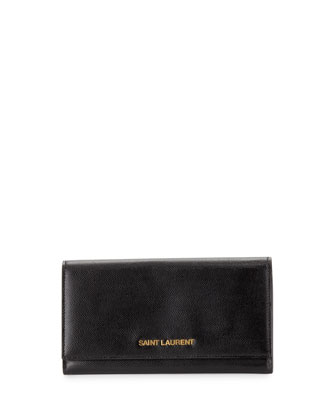 Letters Continental Flap Wallet, Black