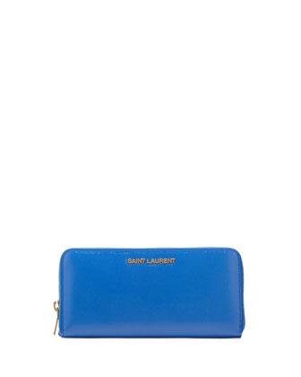 Letters Continental Zip Wallet, Cobalt