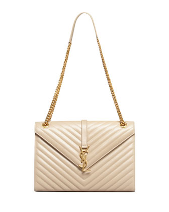 Cassandre Chain-Strap Matelasse Shoulder Bag, Beige