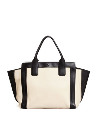 Alison Small East-West Tote Bag, White/Black