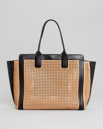 Alison Small Perforated East-West Tote Bag, Sand/Black