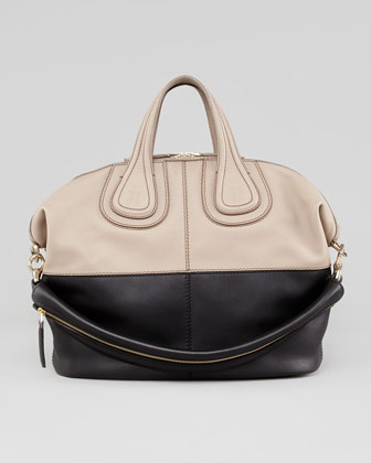 Nightingale Medium Bicolor Satchel Bag, Beige/Black