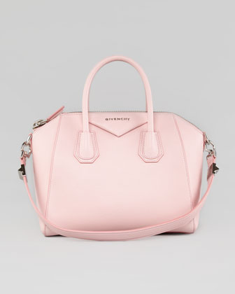 Antigona Small Sugar Goatskin Satchel Bag, Light Pink