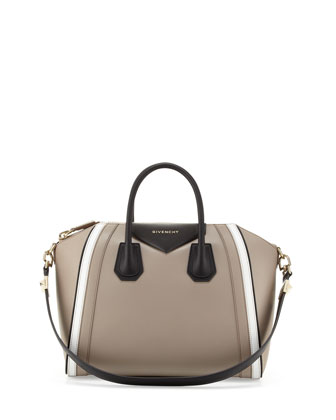 Antigona Small Tricolor Satchel Bag,Taupe/White/Black