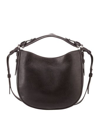 Obsedia Small Leather Hobo Bag, Black