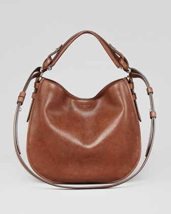 Obsedia Small Leather Hobo Bag, Brown