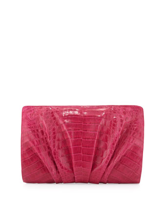 Crocodile Medium Ruched Clutch Bag, Pink