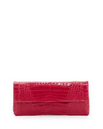 Back-Pocket Crocodile Clutch Bag, Pink