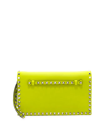 Rockstud Flap Clutch Bag, Yellow