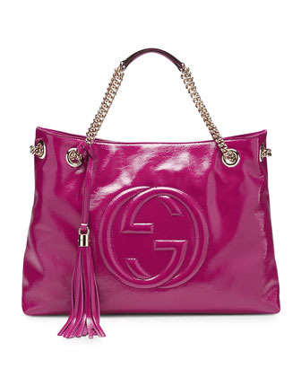 Soho Patent Leather Shoulder Bag, Fuchsia