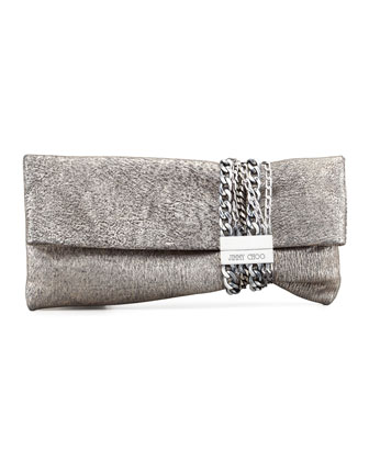 Chandra Metallic Chain Clutch Bag, Platinum