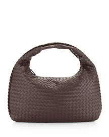 Intrecciato Medium Hobo Bag, Dark Brown