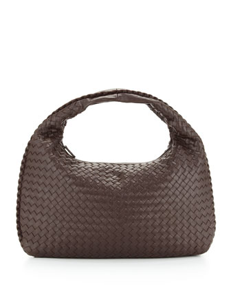 Intrecciato Medium Hobo Bag, Dark Brown