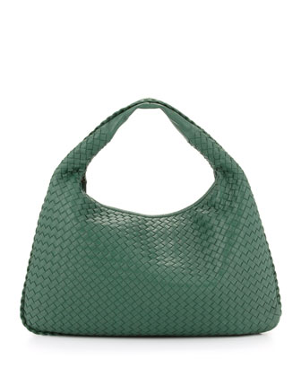 Intrecciato Woven Large Hobo Bag, Mint Green