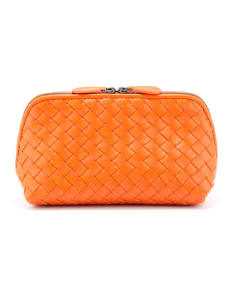 Intrecciato Medium Cosmetic Bag, Tangerine