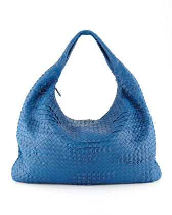 Maxi Veneta Ruffle Hobo Bag, Blue