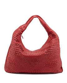 Veneta Intrecciato Maxi Ruffle Hobo Bag, Red
