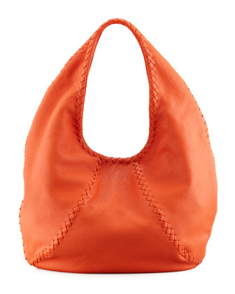 Cervo Large Hobo Bag, Tangerine