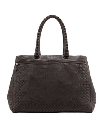 Cervo Medium Woven Frame Tote Bag, Espresso