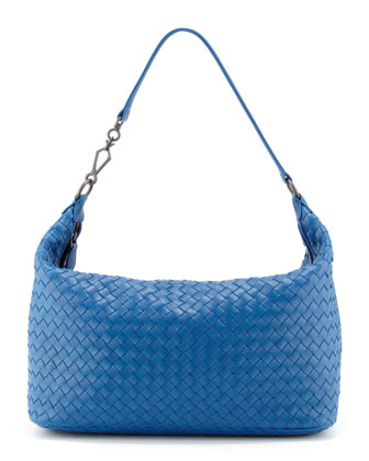 Woven Leather Medium Shoulder Bag, Blue