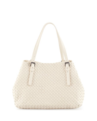 Veneta A-Shape Medium Tote Bag, Pearl