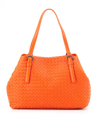 Veneta A-Shape Medium Tote Bag, Tangerine