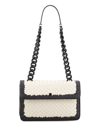 Glass Small Flap Shoulder Bag, White/Black