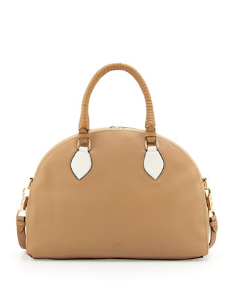 Panettone Large Dome Satchel, Beige/White