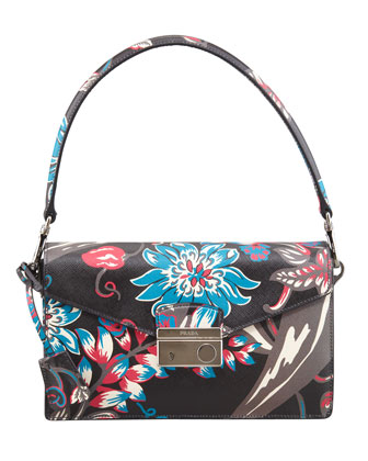 Saffiano Floral-Print Sound Shoulder Bag, Black Mult