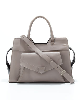 PS13 Medium Bicolor Satchel Bag, Gray/Back