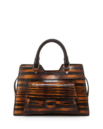 PS13 Small Striped Snake Satchel Bag, Orange/Black