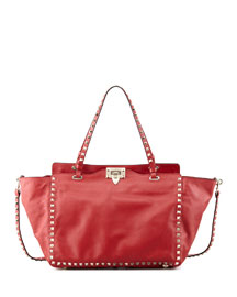 Rockstud Double-Handle Tote Bag, Red
