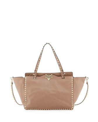 Rockstud Medium Tote Bag, Beige