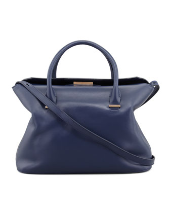 The Carry All Small Leather Tote Bag, Imperial Blue
