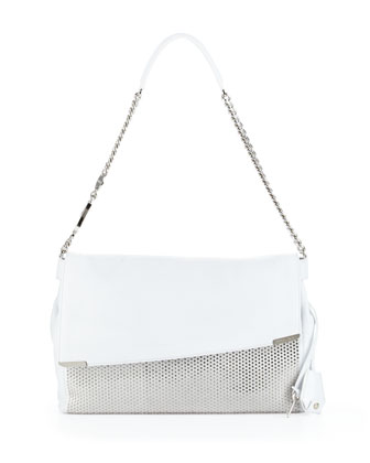 Ally Studded Handcuff-Strap Shoulder Bag, White