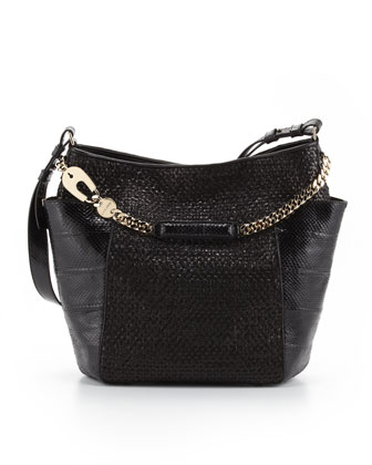 Anna Woven Leather & Snakeskin Tote Bag, Black