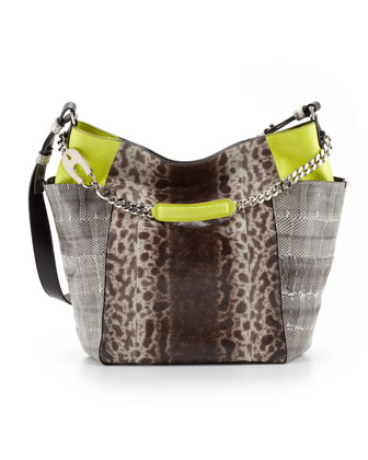 Anna Snakeskin Tote Bag, Multicolor
