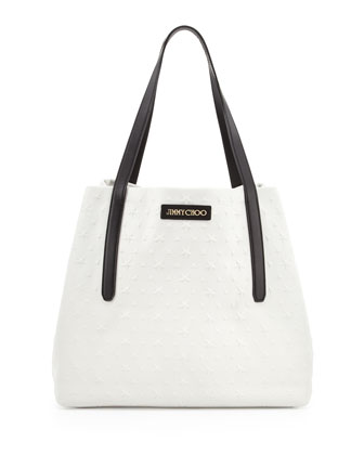 Sara Medium Stars-Embossed Tote Bag, White/Black