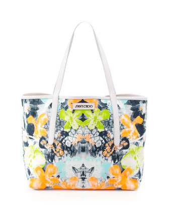Sara Medium Orchid-Print Tote Bag, White/Black