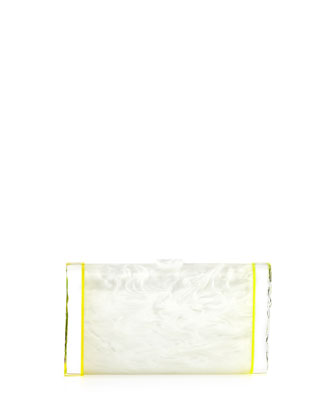 Lara Backlit Acrylic Ice Clutch Bag, White/Yellow