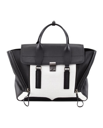 Pashli Colorblock Satchel Bag, White/Black