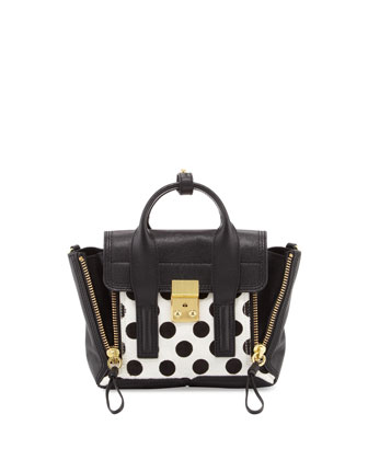 Pashli Mini Spotted Calf Hair Satchel Bag, Black/White