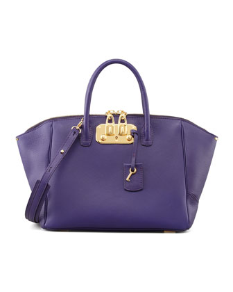 Brera Leather Satchel Bag, Purple