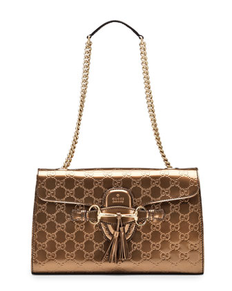 Emily Guccissima Leather Shoulder Bag, Bronze